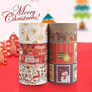 Christmas Washi Tape Set, 6Rolls Decorative Duct Tape Holiday Christmas Craft Decorative Set for Xmas Decorations Christmas Party Favors Supplies, 1.7