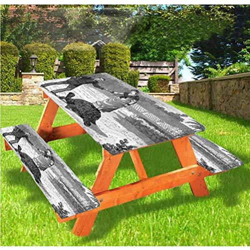 LEWIS FRANKLIN - Cortina de ducha vintage de lujo, mantel de mesa de picnic, diseño de tortuga gigante y hombre con borde elástico, 70 x 72 cm, juego de 3 piezas para mesa plegable