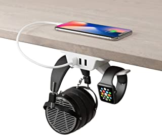 HumanCentric Headphone Stand with USB Charger (White)   Under Desk Headset Hanger and Mount with 3 USB-A Ports   Gaming, C...
