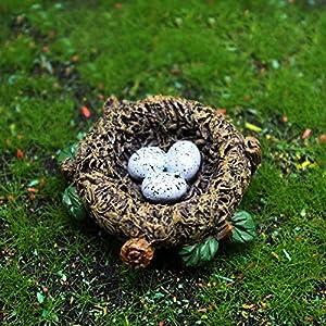 mini bird decorative figurines nest of bird figures animal model toys fairy garden decoration plant flower pots bonsai ornamentsm bird bed