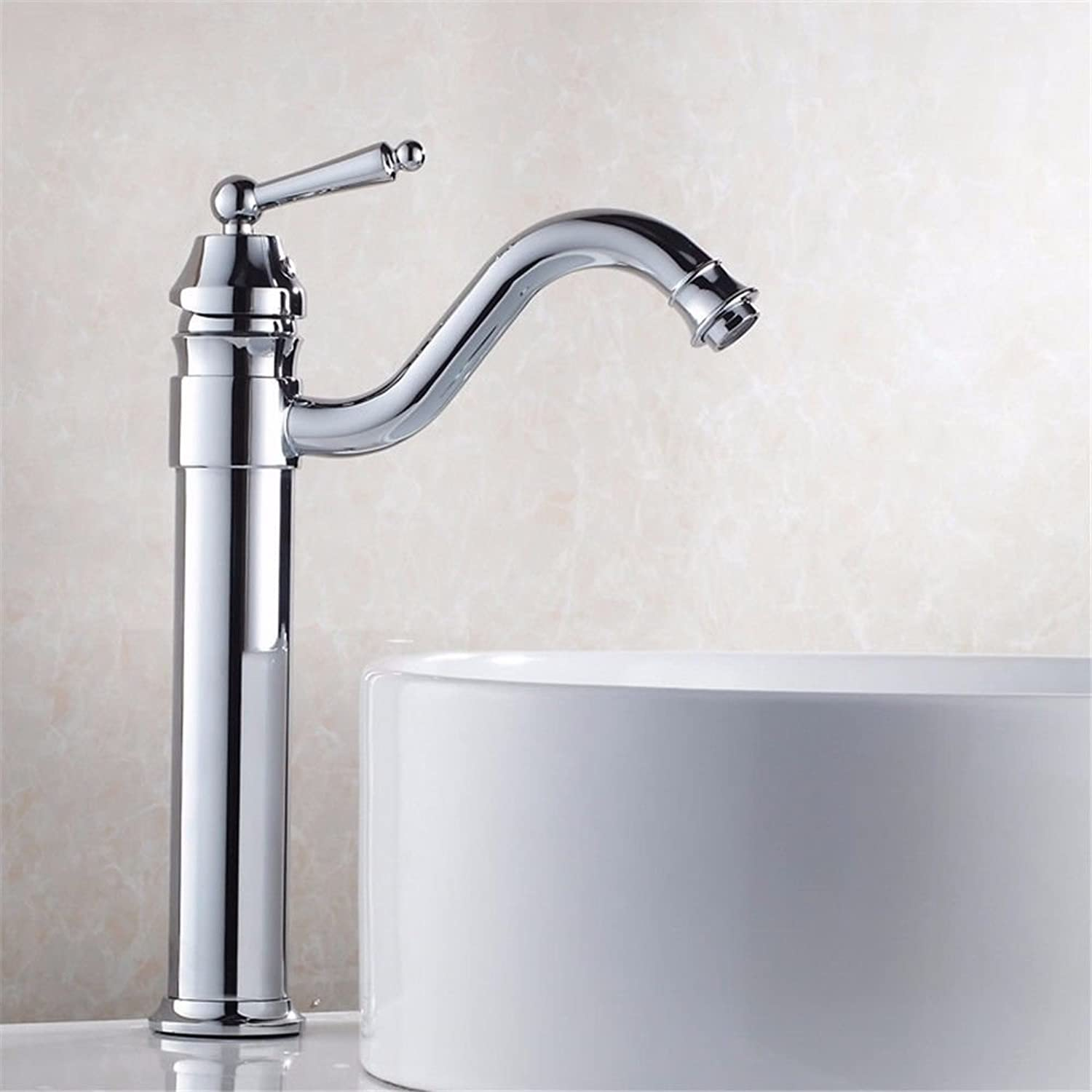 Hlluya Professional Sink Mixer Tap Kitchen Faucet The copper basin faucet surface 盆 antique bathroom kitchen sink hot and cold Swivel, Chrome Plated