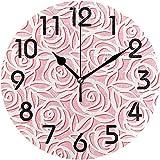 Archiba Reloj de Pared Redondo, Elegantes Rosas Rosadas con Hojas Patrón de Estilo Origami Reloj de Pared Redondo Decorativo, 25cm Reloj silencioso analógico de Cuarzo con Pilas