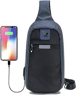 Pokarla Anti-Theft Water Resistant Chest Bag Sling Bag Adjustable Shoulder Strap Workout Dayhiking Daytrip Crossbody Pack for Men and Women Unisex Dark Blue
