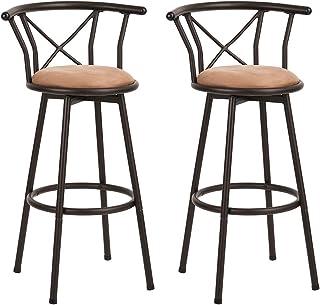 Homy Casa Lot de 2 tabourets de Bar industriels de Style Chaise Vintage avec Repose-Pieds Design en Mousse rembourrée de 2...