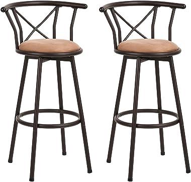 Homy Casa Lot de 2 tabourets de Bar industriels de Style Chaise Vintage avec Repose-Pieds Design en Mousse rembourrée de 29 P