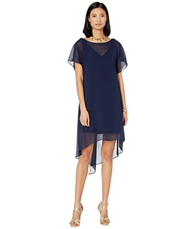 Adrianna Papell Chiffon Overlay Sheath Dress (Navy) Women