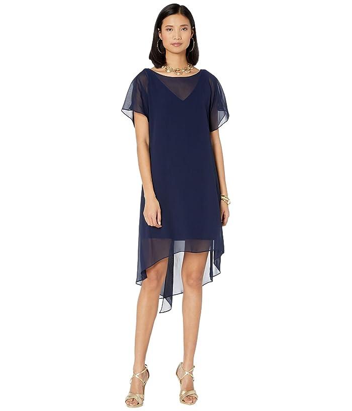 1920s Style Dresses, 20s Dresses Adrianna Papell Chiffon Overlay Sheath Dress Navy Womens Dress $59.40 AT vintagedancer.com