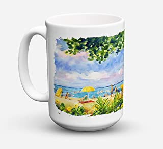 Caroline's Treasures 6065CM15 Beach Resort View From The Condo Microwavable Ceramic Coffee Mug, 15 oz, Multicolor