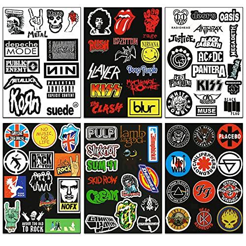 makstore 80 pegatinas de banda Rock Band Heavy Metal Punk Rock Roll Vintage para coche, portátil, móvil, moto, bicicleta, monopatín, impermeable, 6 hojas A4