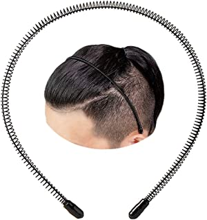 XINGZHE Black Metal Headband for Men's Slicked Back Hair Bands, Unisex Small Spring Headbands for Womens Hair Hoop Clips, Fashionable Nonslip Hairband, Elastic Hair Accessories for Outdoor Sports Yoga