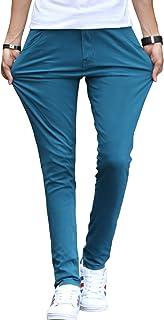 OKJCON チノパン メンズ ロングパンツ ストレッチ スキニー 無地 綿 ズボン スリム カラーパンツ 大きいサイズ