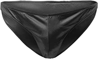 Greatfun Underwear Men's Sexy Underwear Lmitation Leather Lacquer Breathable Pants Sexy Underwear Nylon Soft Stretch Briefs Black