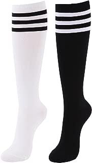 Women's Cotton Knee High Socks - Casual Solid Triple Stripe Colors Fashion Socks 2-3 Pairs (Women's Shoe Size 5-9)