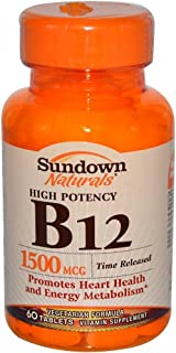 Sundown Naturals B-12 1,500 mcg Time Release Tabs, 60 ct Pack of 4