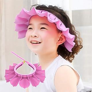 Baby Silicone Shower Cap Bathing Hat, Adjustable Shower Cap Kids, Infants Soft Protection Hat Funny Safety Visor Cap Hat for Toddler Children (Large (2-12 Years Old), Pink)
