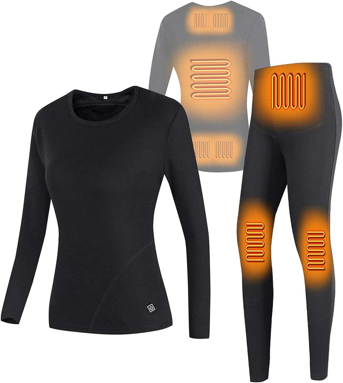 USB Electric Heating Thermal Underwear Set Heated Underwear for Women Winter Warm Fleece Lining Long Sleeve Top and Pants Set