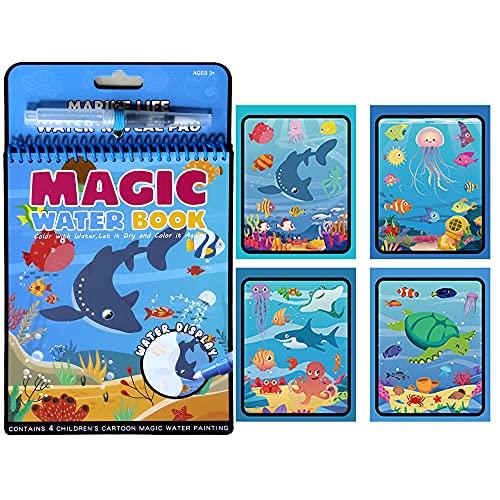 Autoau Magic Water Drawing Book Libro da colorare Acqua Doodle con Magic Pen Painting Board per...
