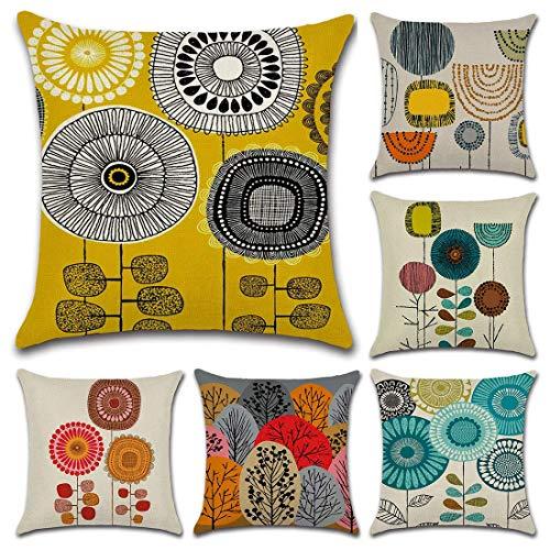 Lawei 6er Set Kissenbezug Baumwolle Abstraktes Blumenmuster Kissenhülle für Zuhause Sofa Schlafzimmer Dekokissen, 45 x 45 cm