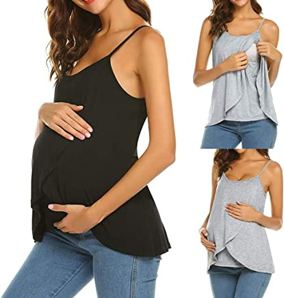 5b0a8d4293d Haluoo Women's Nursing Cami Tank Top Maternity Stretch Soft Spaghetti Strap  Shirts Double Layered Pregnancy Nursing