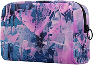 Makeup Bag Toiletry Bag for Women Pink Grey Skincare Cosmetic Handy Pouch Zipper Handbag