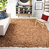 Safavieh Leather Shag Collection LSG601E Hand-Knotted Modern Leather Area Rug, 6' x 9', Light Gold