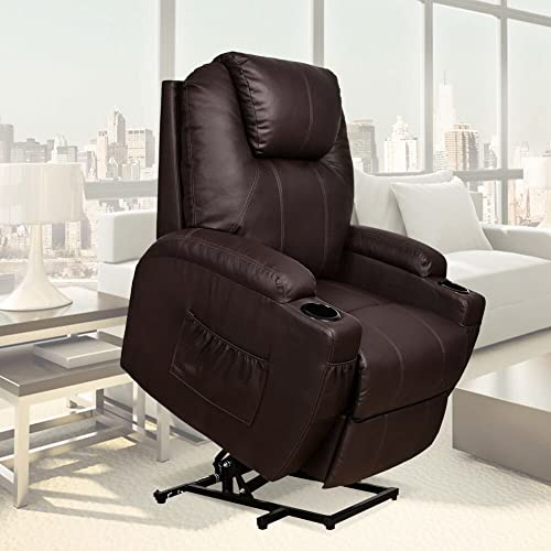 U-MAX Recliner Power Lift Chair Wall Hugger PU Leather with Remote Control (Brown