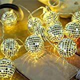 20 LED Disco Ball Mirror LED Party Light String Christmas Lanterns for Holiday Wall Window Tree Decorations Indoor Outdoor Patio Party Yard Garden Kids Bedroom Living Dorm (Warm White)