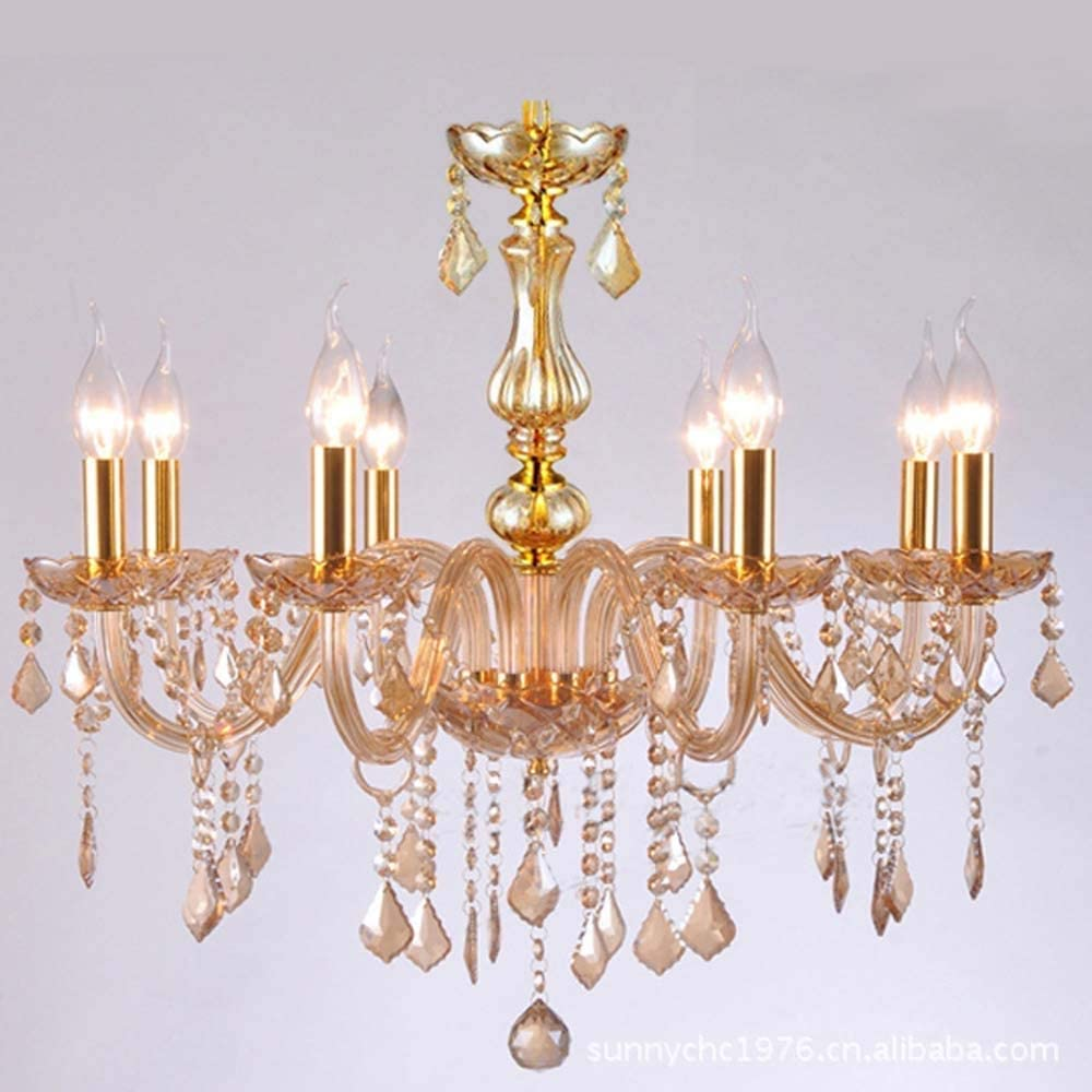 Yangmanini Tulsa Mall Manufacturer OFFicial shop Champagne Amber Crystal Ho European Candle Chandelier