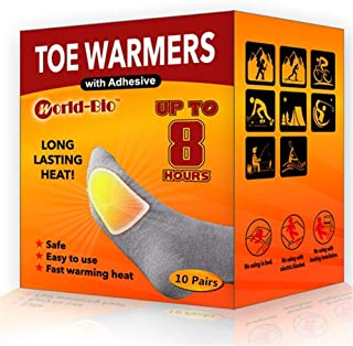 World-BIO Toe Warmers - Long Lasting Safe Natural Odorless Air Activated Warmers - Up to 8 Hours of Heat
