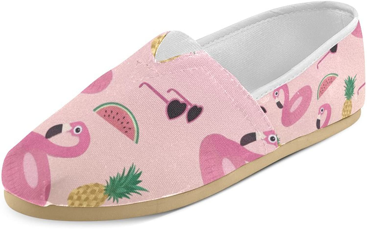 HUANGDAISY Unisex shoes Pink Flamingos Swim Pineapple Watermelon Glasses Casual Canvas Loafers for Bia Kids Girl Or Men