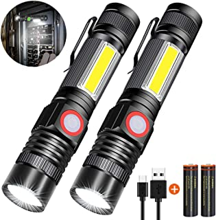 USB Rechargeable Flashlight,Magnetic LED Flashlight,Super Bright LED Tactical Flashlight with COB sidelight,High Lumen,Waterproof,Zoomable Best Flashlight for Camping,Emergency