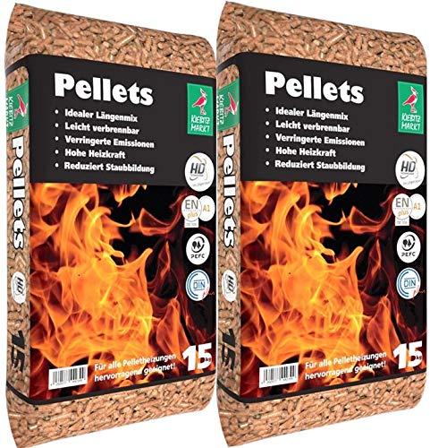2 Sack Kiebitzmarkt Holzpellets Heizpellets 30kg Pellets Zertifiziert EN A1 Wood Pellets