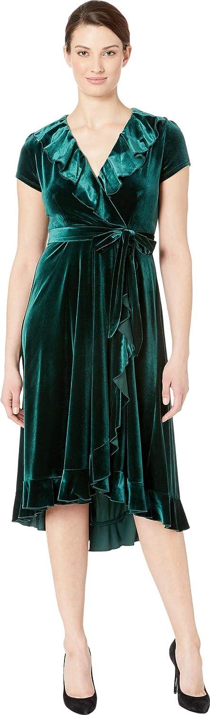 Gabby Skye Womens Short Sleeve Solid Ruffled Dress Dress
