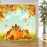N/ Herbst Ahorn & Kürbis Duschvorhang Home Badezimmer Dekor Stoff 12hooks 183 * 183CM