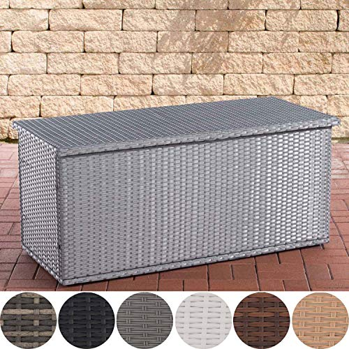 Poly-Rattan Auflagenbox Comfy l Gartentruhe für Kissen und Auflagen l erhältlich, Farbe:grau, Größe:125