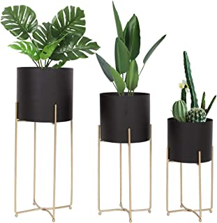 Mid Century Planter with Gold Plant Stand, 3 pcs Modern Planters for Indoor Plants, Metal Floor Planter Set with Foldable ...