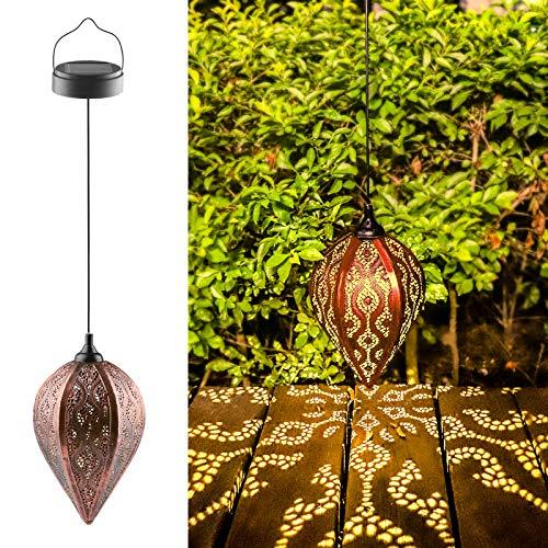 Solarlaterne für außen, IP44 Wasserdicht Garten Laterne, Dekorative Solarlampe Hängend, Metall LED Solar Laterne für Draussen Baum Patio (B)