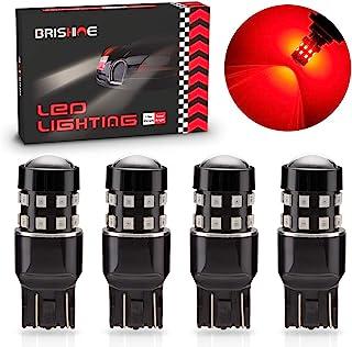 BRISHINE 4-Pack Super Bright 7443 7440 7444 992 T20 LED Bulbs Brilliant Red 9-30V Non-Polarity 24-SMD LED Chipsets with Pr...
