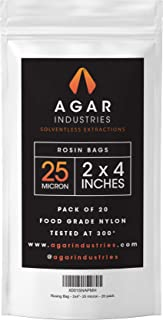 Agar Industries - Rosin Press Filter Bag - Screens for Solventeless Oil Extractions in Rosin Tech (20 pack, 2x4 in. 25 micron)