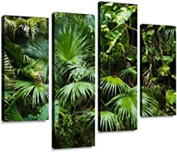 Beautiful Palm Leaves of Tree in Sunlight Canvas Wall Art Hanging Paintings Modern Artwork Abstract Picture Prints Home Decoration Gift Unique Designed Framed 4 Panel