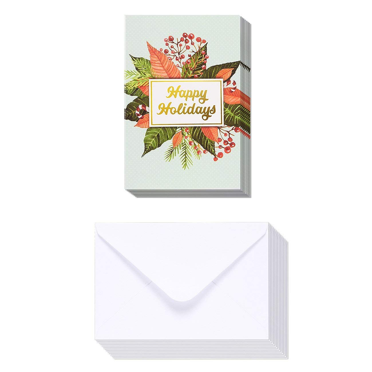 4 x 6 Inches 48-Pack Merry Christmas Greeting Cards Bulk Box Set Winter Holiday Xmas Greeting Cards with Mistletoe Design and Gold Foil Accents Envelopes Included