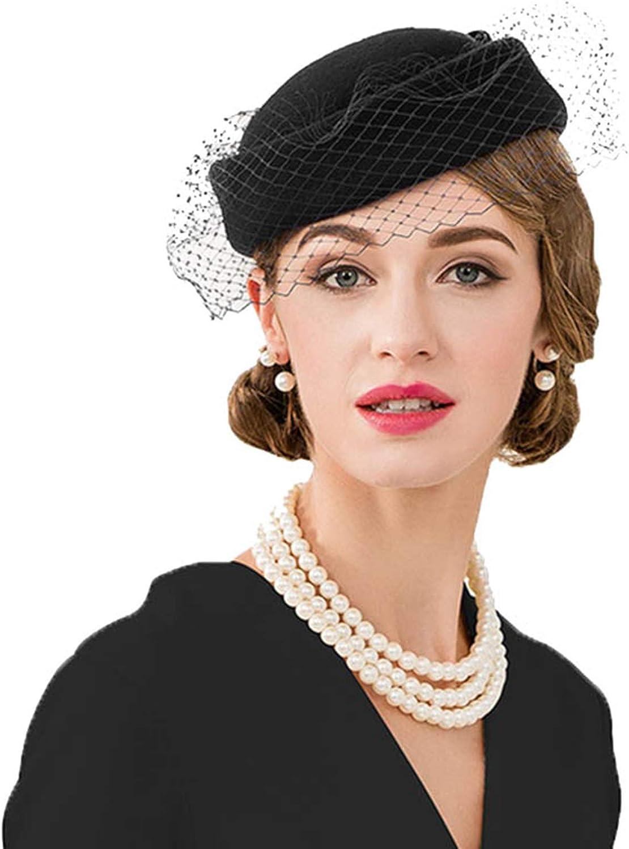 Women Elegant Fascinators Wool Pillbox Veil Ladies Wedding Derby Cocktail Vintage Fedoras