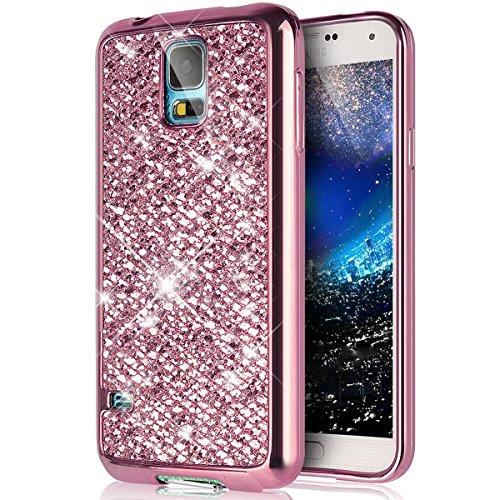 kompatibel mit Galaxy S5 Mini Hülle,Luxus Glänzend Glitzer Strass Diamanten Handyhülle TPU Silikon Hülle Case Tasche Weiche Silikon Rückseite Glitzer Schutzhülle für Galaxy S5 Mini,Rosa