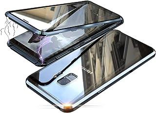 Jonwelsy Funda para Samsung Galaxy S9 Plus, Adsorción Magnética Parachoques de Metal con 360 Grados Protección Case Cover Transparente Ambos Lados Vidrio Templado Cubierta para Samsung S9+ (Negro)