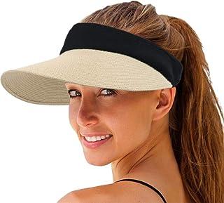 Women Straw Sun Visor Hat Wide Brim Summer UV Protection Beach Cap Foldable Packale Korean Style