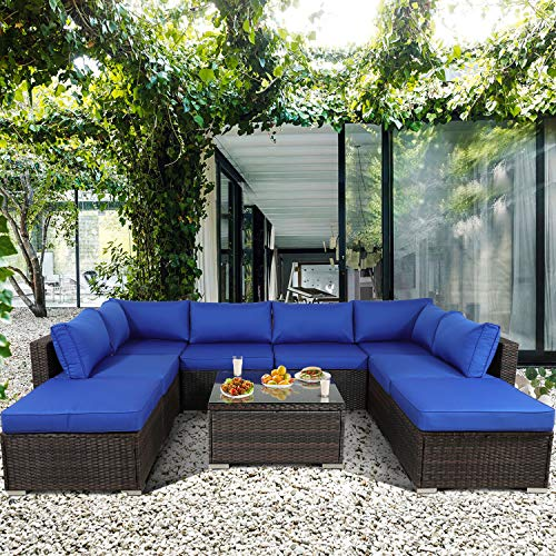 Leaptime Patio Furniture Sofa Garden Couch Set 9-Piece PE Brown Rattan Sofa Outdoor Sectional Sofa Deck Conversation Furniture Set with Royal Blue Cushion