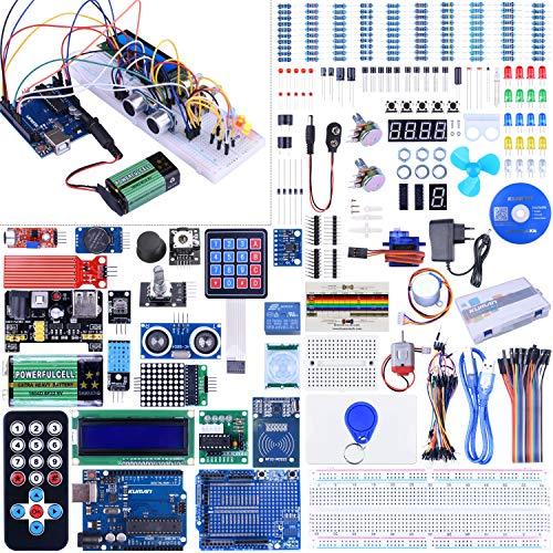 kuman Kit de Inicio Completo con Tutorial para Arduino (66 Elementos) Que Incluye Placa controladora R3, Kits de módulo de Sensor, LCD, Servo, Motor Paso a Paso k27