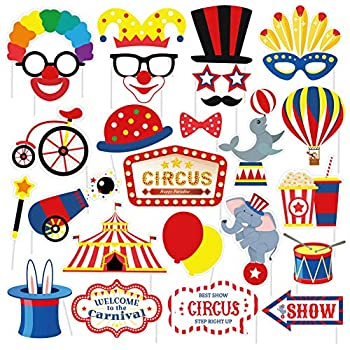 SWYOUN 27PCS Carnival Circus Photo Booth Props Birthday Party Decorations Supplies
