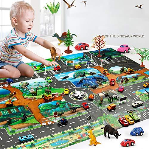 SunYueY 100x130cm Traffic Route Dinosaur World Pattern Play Mat Pad Alfombra Decoración De La Habitación, Intelectual Toy Gift Set