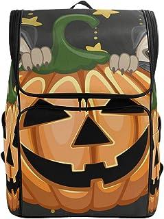 DEZIRO Mochila de viaje perros de Halloween con calabaza, bolsa grande, mochila escolar multifuncional para mujeres y hombres de 19 x 14 x 7 pulgadas